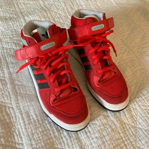 Adidas red lace-up high top sneakers, worn once